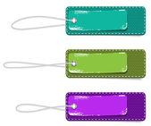 Vector tela rectangular colores distintivos fijados con correas y pegatinas de papel — Vector de stock