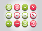 Set of interface buttons OK, Cancel, Yes, No — Stock Vector