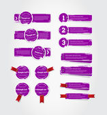 グランジ ベクトル紫色皮をむいた風化させたペンキ、赤いリボンおよびクロムのステープルを使用してコレクションをバッジします。 — ストックベクタ