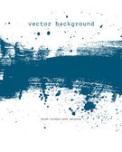 Blue vector brush stroke hand painted background with paint splatter — Stock Vector