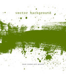 Green vector brush stroke hand painted background with paint splatter — Stock Vector