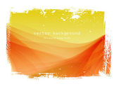 Yellow - red vector smooth wavy background with grungy border — Stock Vector