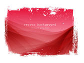Red vector smooth wavy background with grungy border — Stock Vector