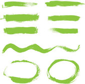 Green hand painted vector abstract brush strokes and circles collection — Stock Vector