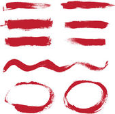 Red hand painted vector abstract brush strokes and circles collection — Stock Vector