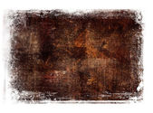 Brown worn out hand painted canvas background with grungy border — Stock Photo