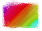 Spectrum hand painted brush strokes background with grungy border — Stock Photo