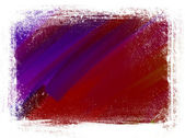 Purple and red hand painted brush strokes background with grungy border — Stock Photo