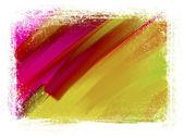 Sarı ve pembe el fırça darbeleri arka plan aşınmış kenarlıklı boyalı — Stok fotoğraf