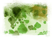 Groene rommelig handgeschilderde aquarel achtergrond met grungy rand — Stockfoto