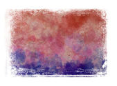 Red and violet messy hand painted watercolor background with grungy border — Stock Photo