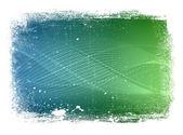 Mavi ve yeşil grungy sınır ile pürüzsüz modern dalgalı arka plan aşınmış — Stok fotoğraf