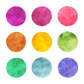 A set of round watercolor stains with contour — Stock Photo