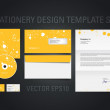 Yellow vector stationery design template set with paint splatters — 图库矢量图片