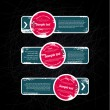 Grungy vintage vector labels - banners - stickers - tags with worn out paint texture, over black scratched background, blue and red — Stock Vector
