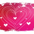 Royalty-Free Stock Imagem Vetorial: Red vector background with hearts and grungy border