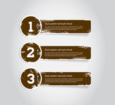 One two three grungy vintage vector labels — Stock Vector