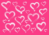 Pink hand painted hearts background — Stock Photo