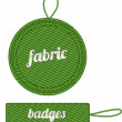 Stock Vector: Green vector fabric badges with straps