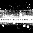 Black and white vector grungy brush stroke hand painted background with paint splatter — Stock Vector