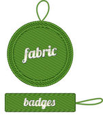 Green vector fabric badges with straps — Stock Vector