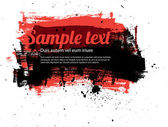 Red vector painted grungy banner - badge - background — Stock Vector