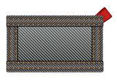 прямоугольный знак черной джинсовой ткани с тегом красная лента — Cтоковый вектор
