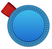 Blue fabric round badge with a red ribbon tag — Stock Vector