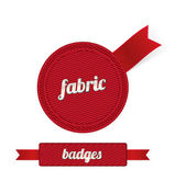 Red vector fabric badges with red ribbons — Stock Vector