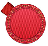Vector rode stof badge met lint tag — Stockvector