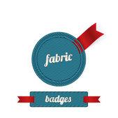 Niebieski wektor tkaniny odznaki z czerwonymi wstążkami — Wektor stockowy