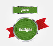 Green vector fabric badges with red ribbon and metallic decorations — Stock Vector