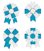 Blue - white vector detailed textured ribbon textile bow knots collection — Stock Vector