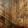 Old vintage retro grungy stained slightly striped photograph on aged paper — Stock Photo