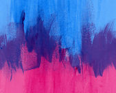 Magenta and blue hand-painted brush stroke daub background — Stock Photo