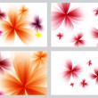 Red abstract floral backgrounds set  — Stock Photo
