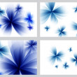 Blue abstract floral backgrounds set — Stock Photo