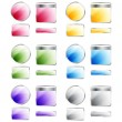 Set of glossy colorful assorted vector badges and buttons — Stockfoto