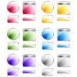 Set of glossy colorful assorted vector badges and buttons — Stock fotografie