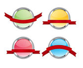Set of 4 vector glossy glass promotional badges with red ribbon banners — Stockfoto