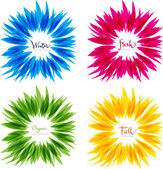 Set of abstract floral vector shapes, yellow blue green and red — Stock Photo