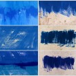 Set of 6 blue hand-painted brush stroke daub backgrounds — Stock Photo
