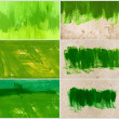A set of hand painted green backgrounds daubs and brush strokes — Stock Photo #34551165