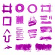 Set of purple hand painted brush strokes, daubs, frames, textures and arrows — Stock Photo #34551267