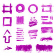 Set of purple hand painted brush strokes, daubs, frames, textures and arrows — Stock Photo