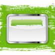 Green glossy glass banner with metallic frame on a hand-painted daub background  — Стоковая фотография