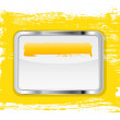 Yellow glossy glass banner with metallic frame on a hand-painted daub background — Stock Photo