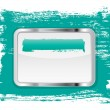 Turquoise glossy glass banner with metallic frame on a hand-painted daub background — Stock Photo