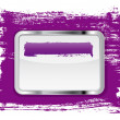 Purple glossy glass banner with metallic frame on a hand-painted daub background — Stock Photo
