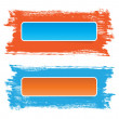 Bright stickers banners on hand-painted daub backdrops, orange - blue — Stock Photo